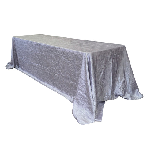 "Economy Crush Taffeta 90""x156"" Rectangular Tablecloth - Silver"