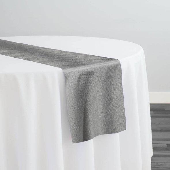 Rustic Linen (100% Poly/Double-Wide) Table Runner in Silver