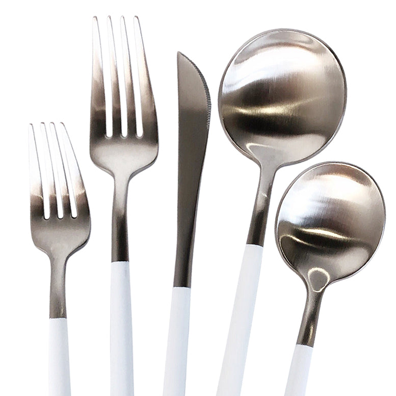 Luna Modero - Flatware/Cutlery Set in Silver/White