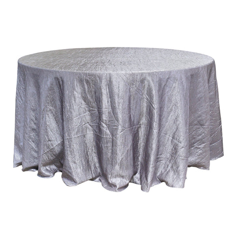 "Economy Crush Taffeta 120"" Round Tablecloth - Silver"