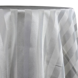 Imperial Stripe Table Linen in Silver
