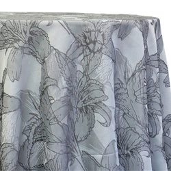 Floral Reef Jacquard Table Linen in Silver