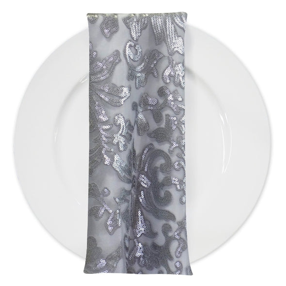 Milan Lace (w/ Poly Lining) Table Napkin in Silver