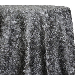 Curly Satin Table Linen In Silver