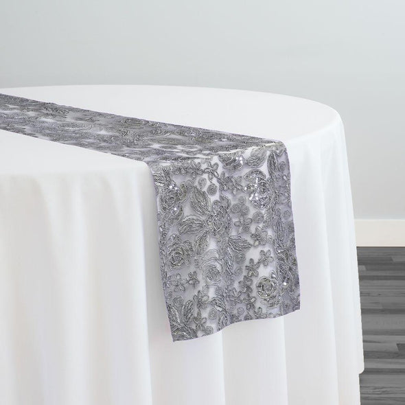 Valentina Lace Table Runner in Silver