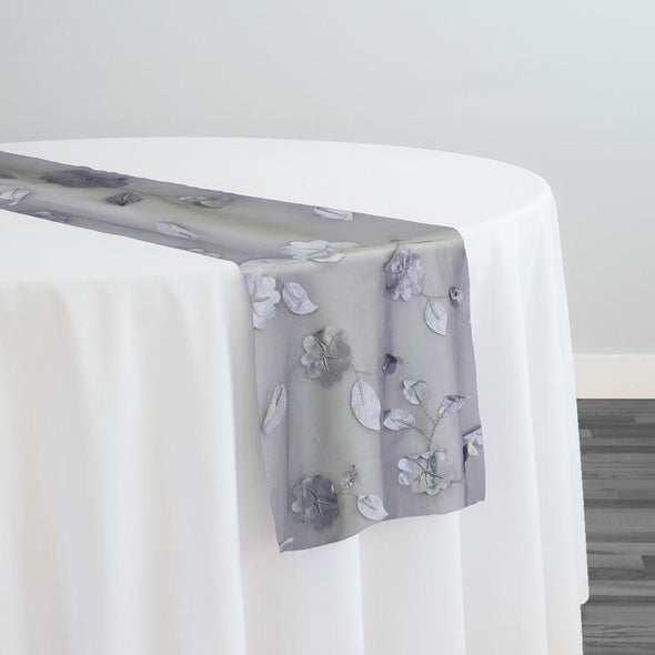 Lily Petal Table Runner in Silver