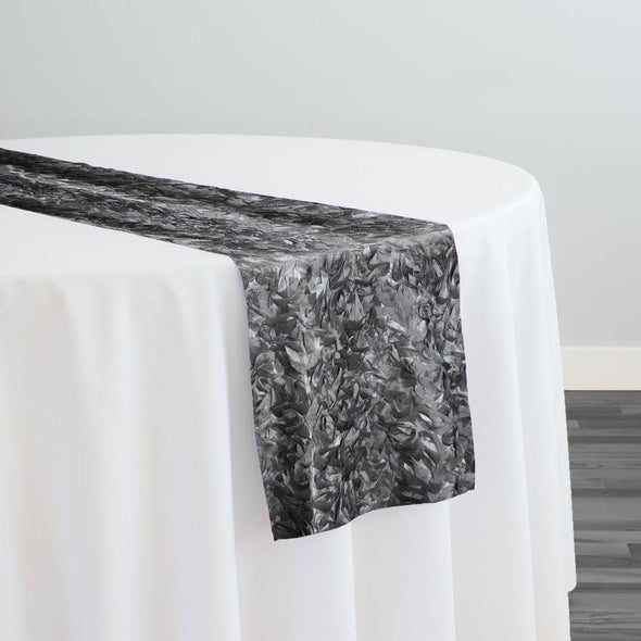 Curly Satin Table Runner in Silver