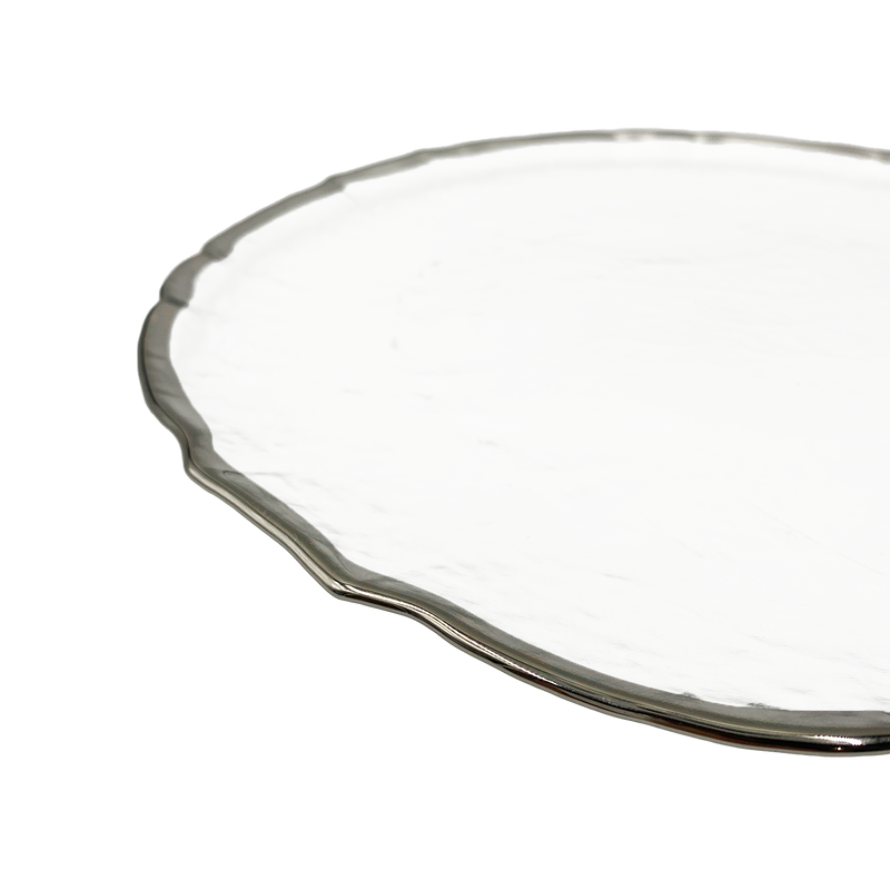 Ribbon - Glass Charger Plate in Silver