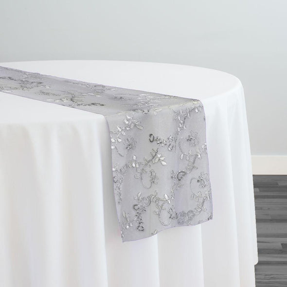 Basil Leaf Embroidery Table Runner in White