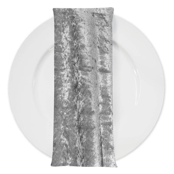 Panne (Crush) Velvet Table Napkin in Silver