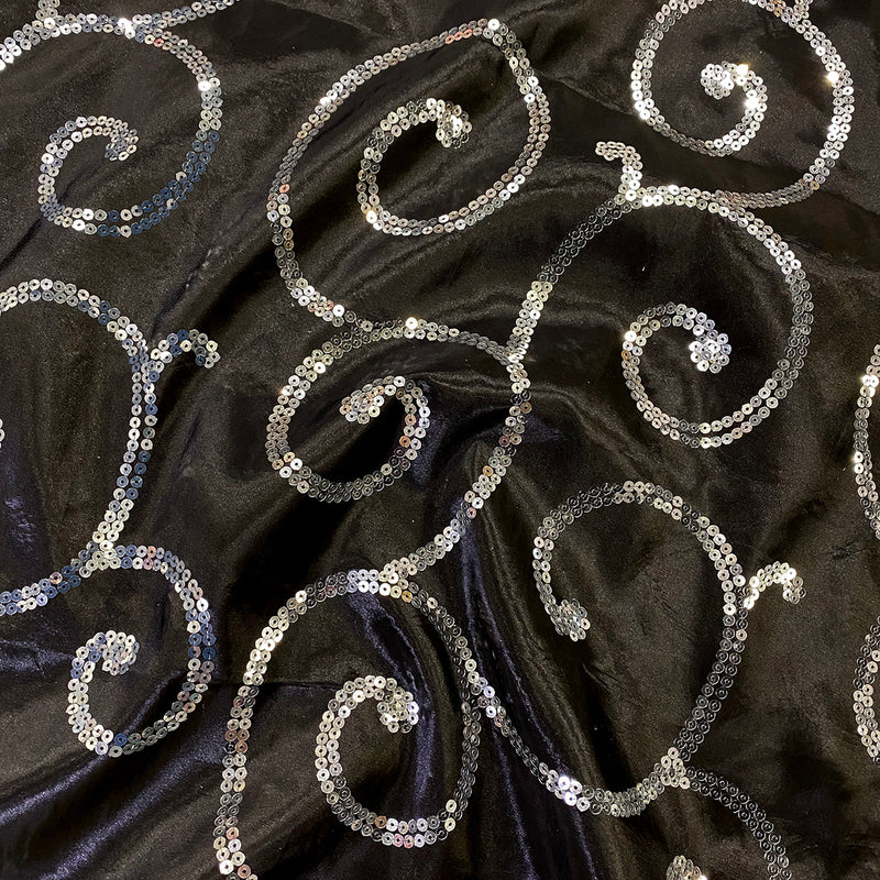 Swirl Sequins Taffeta Wholesale Fabric in Silver and Black