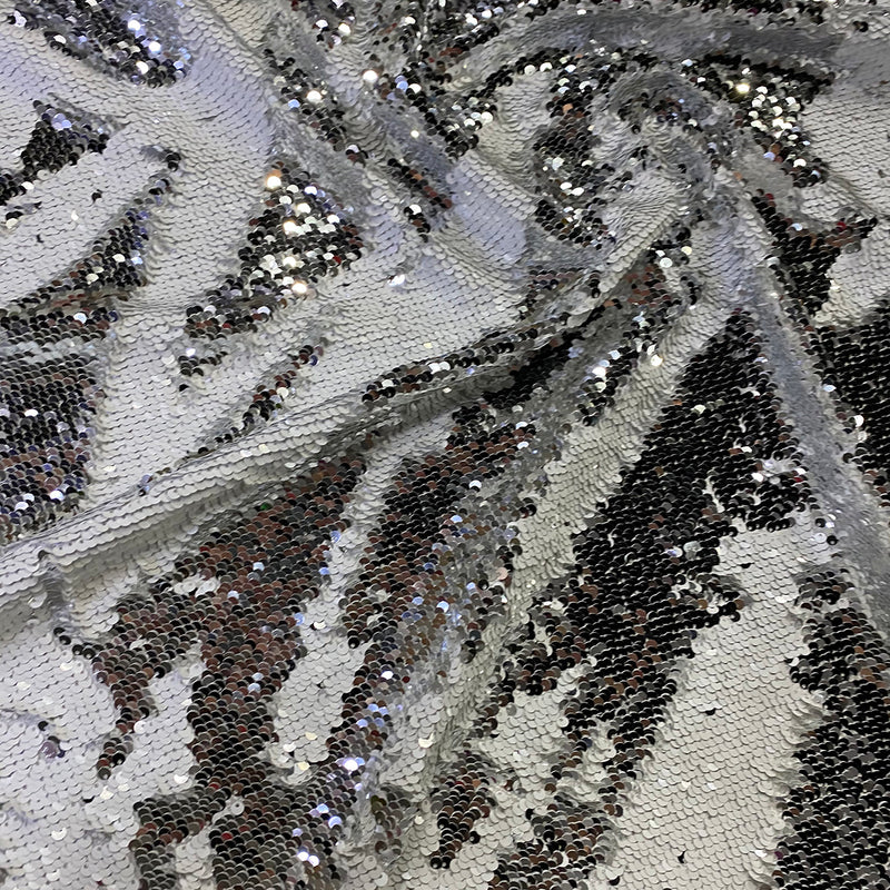 Two-Tone Sequins Wholesale Fabric in White and Silver