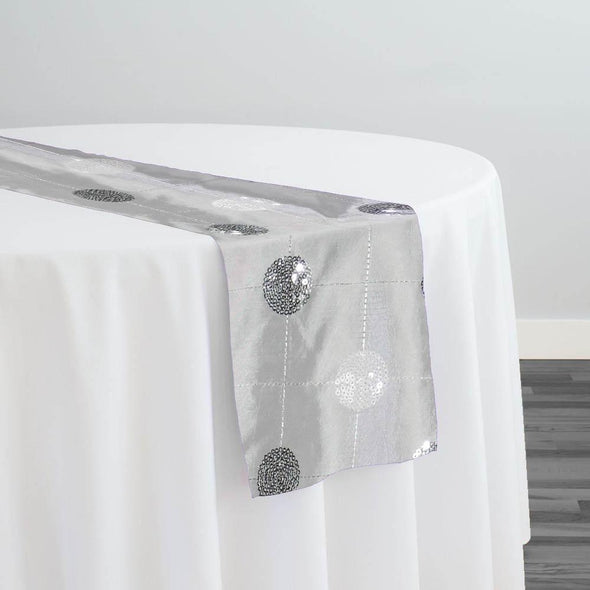 Luna Sequins Taffeta Table Runner in Silver and White