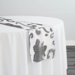 Fleur De Lis Table Runner in Silver