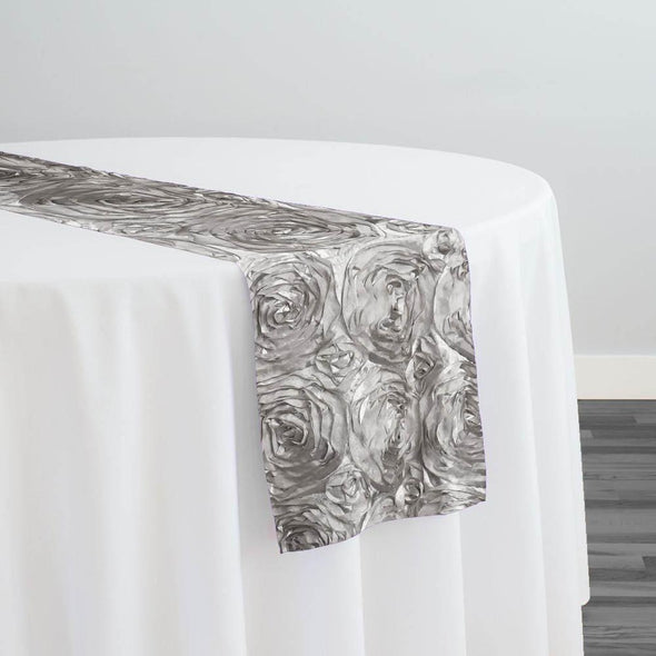 Rose Satin (3D) Table Runner in Silver