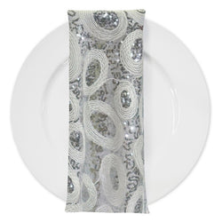 Sienna Design (w/ Poly Lining) Table Napkin in Silver and White