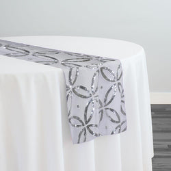 Delano Sequins Table Runner in Silver and White