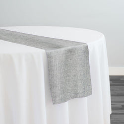 Imitation Burlap (100% Polyester) Table Runner in Silver