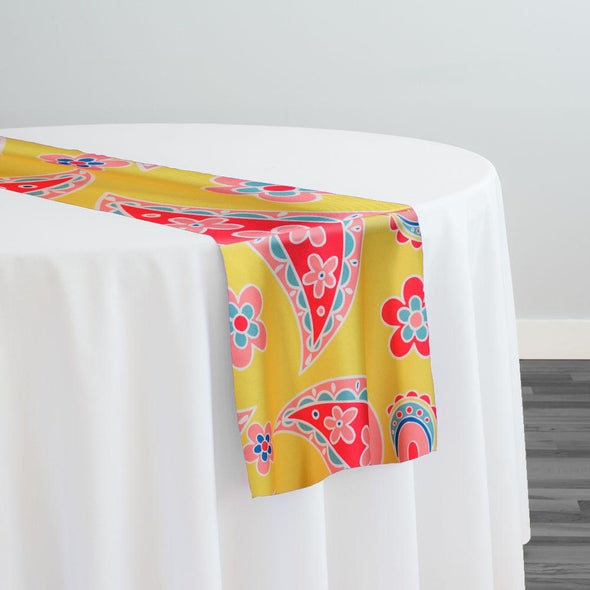 Pastel Paisley (Poly Print) Table Runner in Yellow