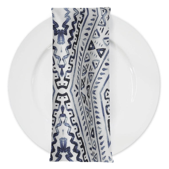 Aztec Print (Dupioni) Table Napkin in Steel Blue