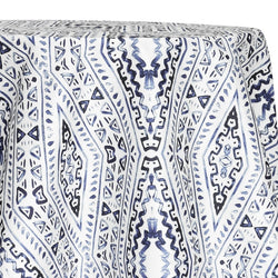 Aztec Print (Dupioni) Table Linen in Steel Blue