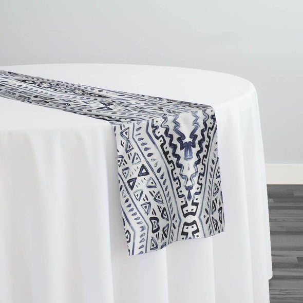 Aztec Print (Dupioni) Table Runner in Steel Blue