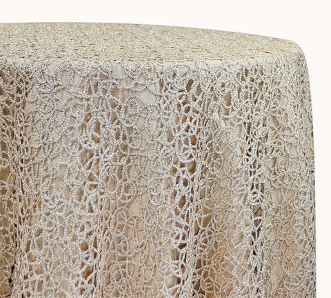 "Swirl Chain Lace - Champagne 120"" Round Wedding Tablecloth"