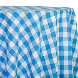 Polyester Checker (Gingham) Table Linen in Turquoise