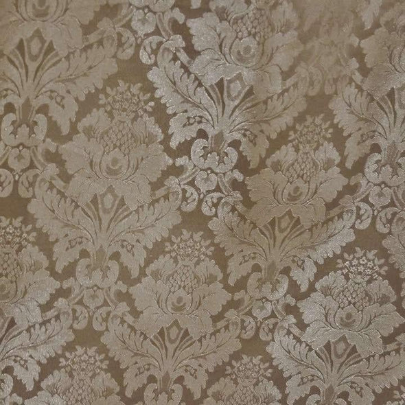 Damask Poly Table Linen in Taupe D 1410