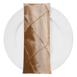 "4"" Pintuck Taffeta Table Napkin in Taupe Gold"