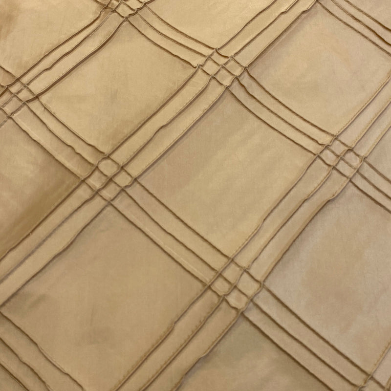Triple Pleat Pintuck Wholesale Fabric in Taupe Gold