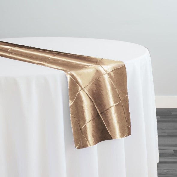 "4"" Pintuck Taffeta Table Runner in Taupe Gold"