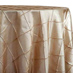 "4"" Pintuck Taffeta Table Linen in Taupe Gold"