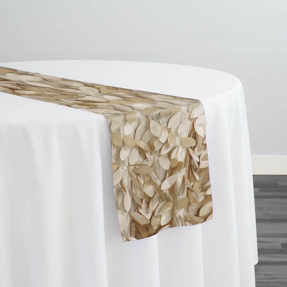 Leaf Hanging Taffeta Table Runner in Taupe and Gold