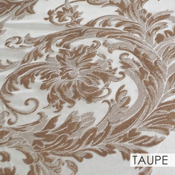 Victorian Jacquard Sheer Wholesale Fabric in Taupe