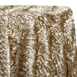 Austrian Wave Satin Table Linen in Taupe