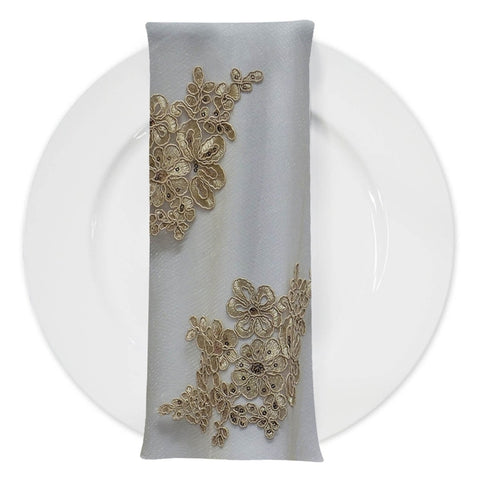 Venetian Lace (w/ Poly Lining) Table Napkin in Taupe