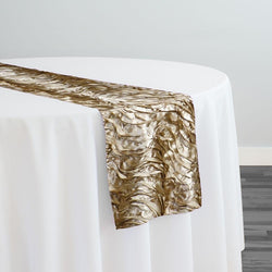 Austrian Wave Satin Table Runner in Taupe