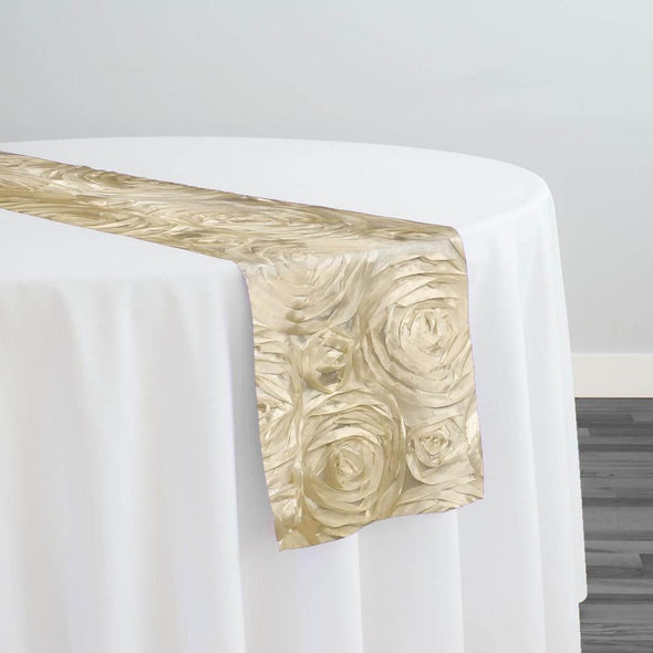 Rose Satin (3D) Table Runner in Taupe