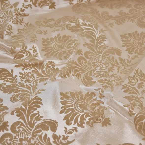 Damask Flocking Taffeta Wholesale Fabric in Taupe on Taupe