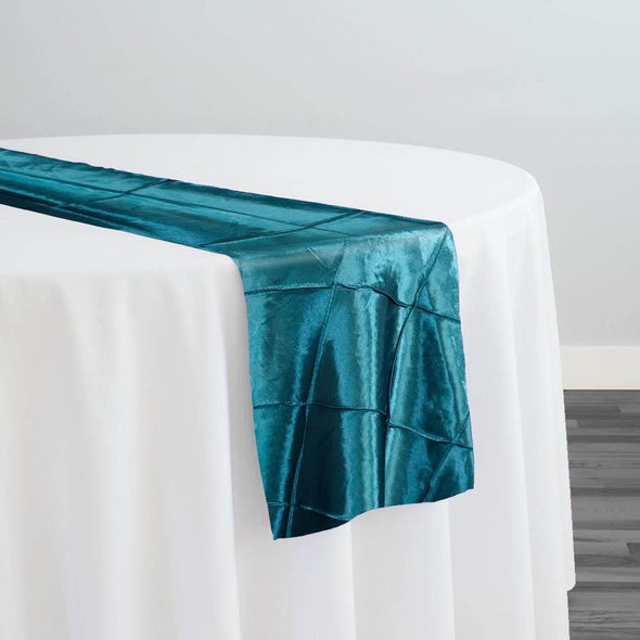 "4"" Pintuck Taffeta Table Runner in Teal 033"