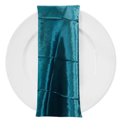 "4"" Pintuck Taffeta Table Napkin in Teal 033"