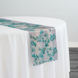 Basil Leaf Embroidery Table Runner in Teal Green