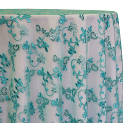 Basil Leaf Embroidery Table Linen in Teal Green