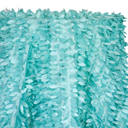 Leaf Hanging Taffeta Table Linen in Teal Green