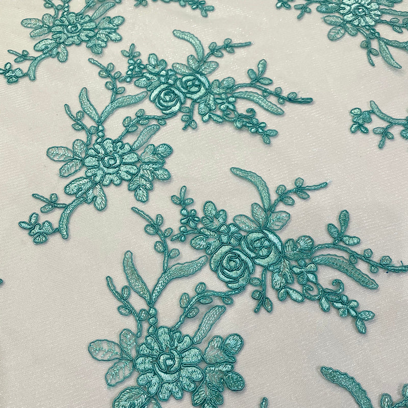 Laylani Lace Table Runner in Teal Green