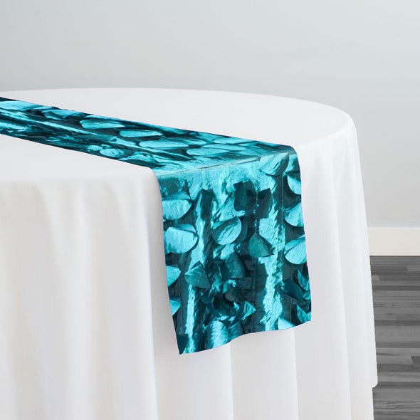 Funzie (Circle Hanging) Taffeta Table Runner in Teal