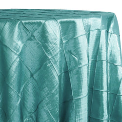 "4"" Pintuck Taffeta Table Linen in Teal Green 078"