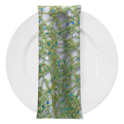 Flower Chain Lace (w/ Poly Lining) Table Napkin in Tiffany and Gold