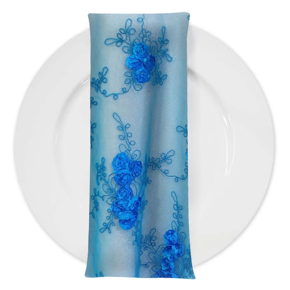Baby Rose Embroidery (w/ Poly Lining) Table Napkin in Turquoise